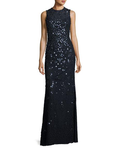 Floral-Sequin Sleeveless Jewel-Neck Gown, Dark Navy