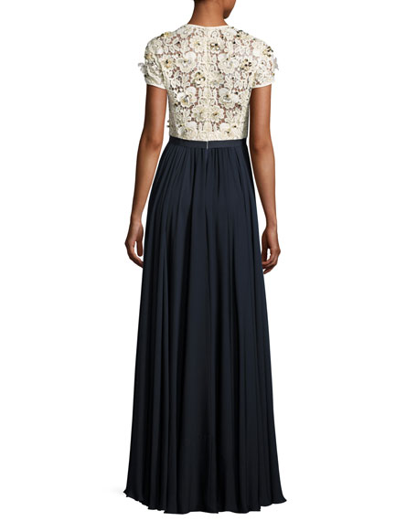 Beaded Lace-Bodice Short-Sleeve Gown, Ivory/Dark Navy