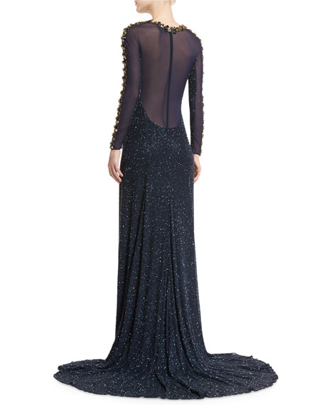 Beaded Long-Sleeve Jewel-Neck Gown, Dark Navy