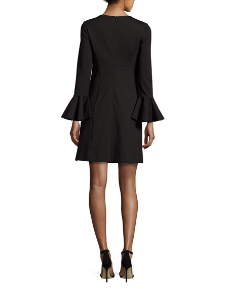 Bell-Sleeve Ponte Cocktail Dress, Black