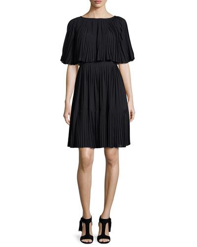 pleated cape dress, black