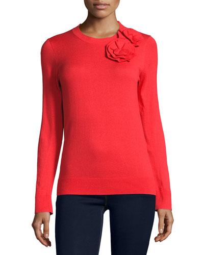 rosette crewneck pullover sweater, persimmon grove