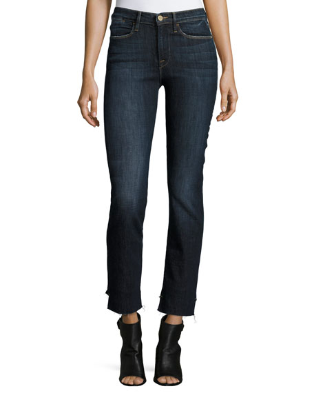 FRAME Le High Straight Reverse-Stagger Raw-Edge Jeans, Northern