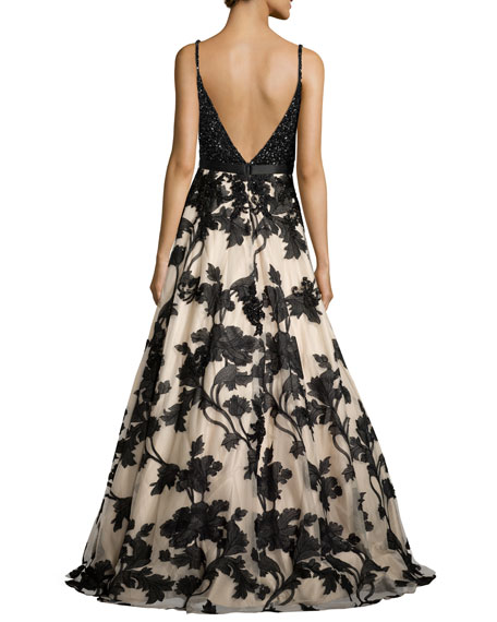 Sleeveless Beaded Embroidered Combo Gown, Nude/Black