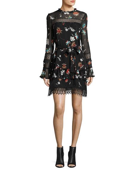 Whisper Floral Lace Silk Mini Dress, Black Multicolor