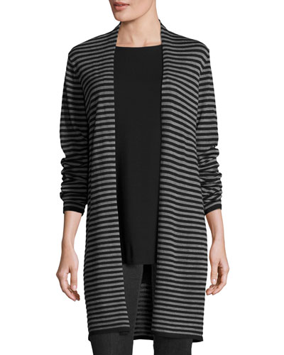 Stripe-Print Open-Front Long Cardigan, Black/Ash