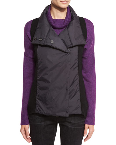 Parka-Trim Funnel-Neck Vest, Black