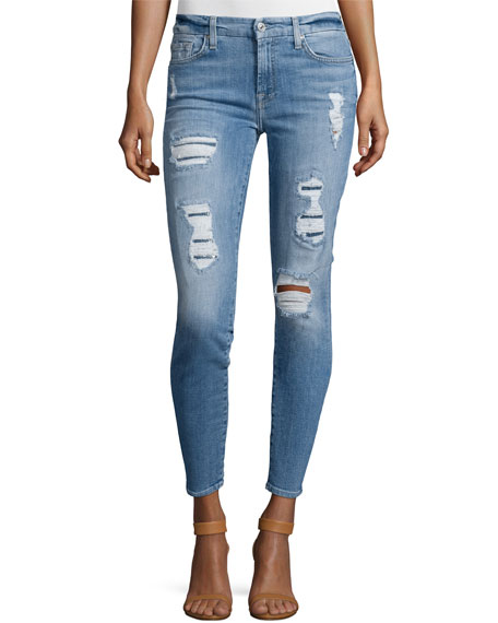 7 For All Mankind The Ankle Skinny Destroyed
