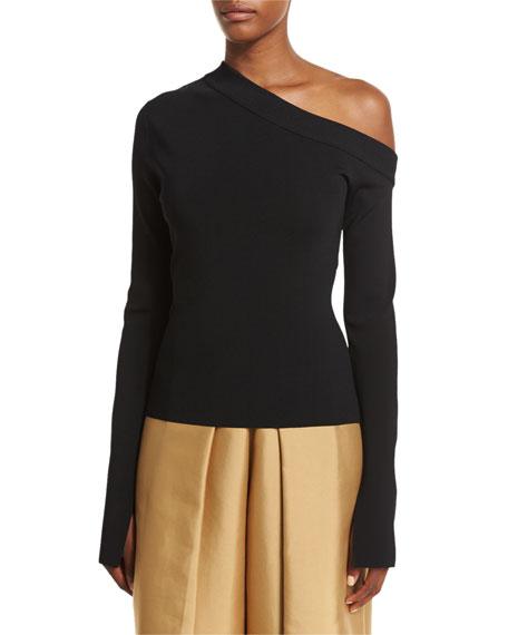 Solace London Kelsey Asymmetric Jersey Top, Black