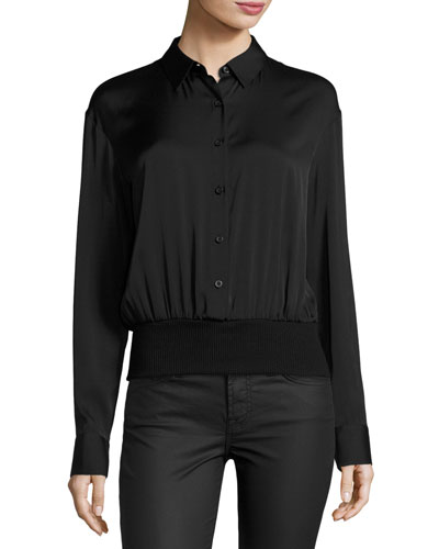 Long-Sleeve Stretch Silk Pullover Shirt, Black