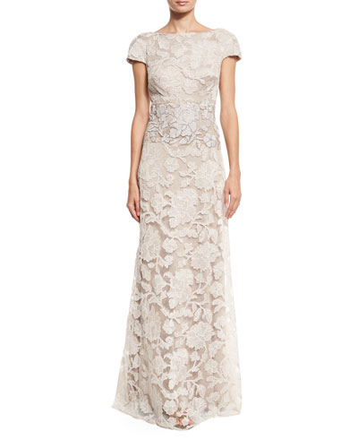 Short-Sleeve Floral Lace Tulle Gown, Latte/Pumice