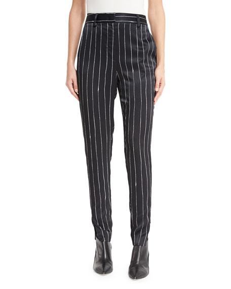Tailored Striped Satin Pants, Black