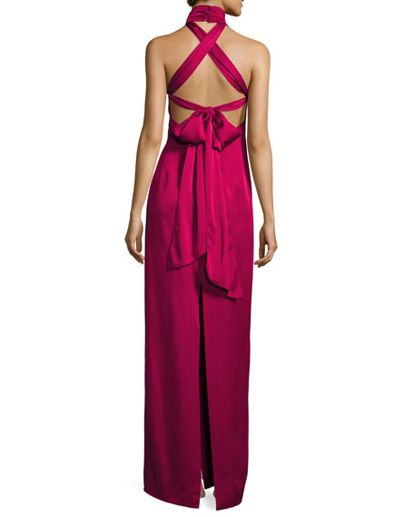 Sleeveless Satin Tie-Back Column Gown, Berry