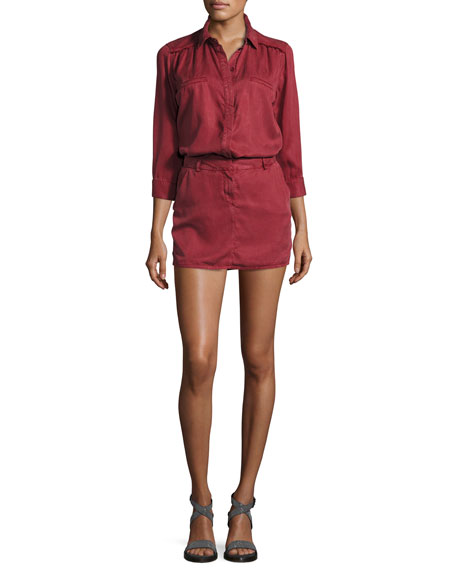 Etienne Marcel 3/4-Sleeve Tunic Dress, Burgundy