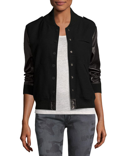 Wool-Blend & Leather Bomber Jacket, Black