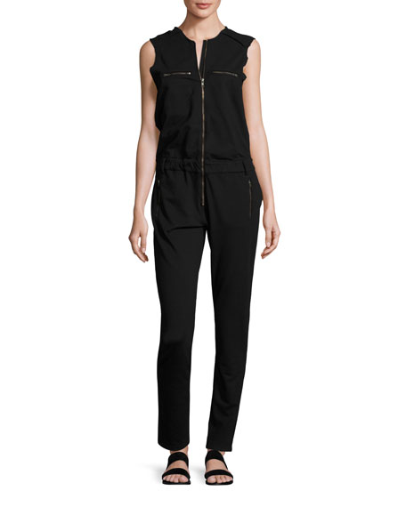 Etienne Marcel Sleeveless Zip-Front Jumpsuit, Black