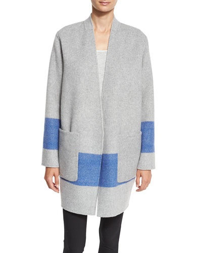 Elgin Reversible Open-Front Blanket Coat, Blanc/Black