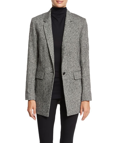 Ronin Wool-Blend Blazer, Black/White