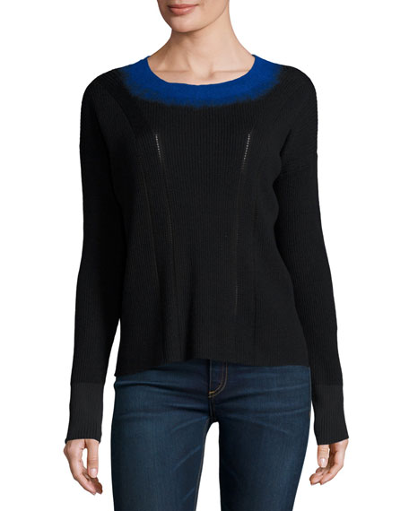 Rag & Bone Lynette Ribbed Ombre-Neck Pullover Sweater,
