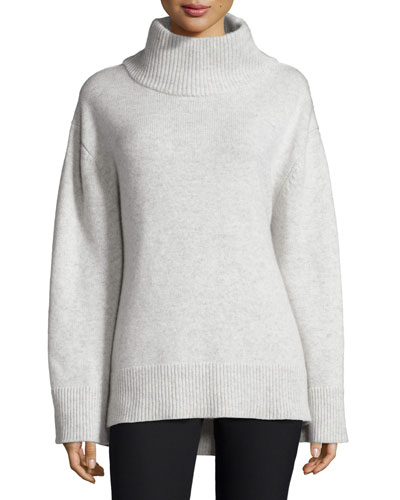 Phyllis Long-Sleeve Melange Wool-Blend Sweater, Light Gray