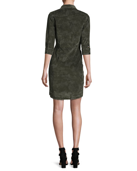 Camo-Print Corduroy Dress