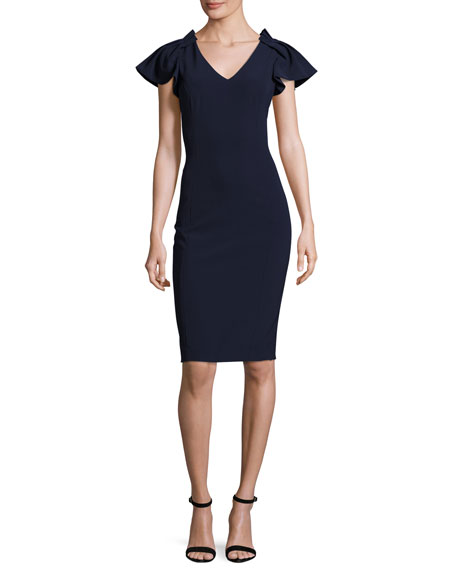 Badgley Mischka Cap-Sleeve Stretch Crepe Cocktail Dress, Navy