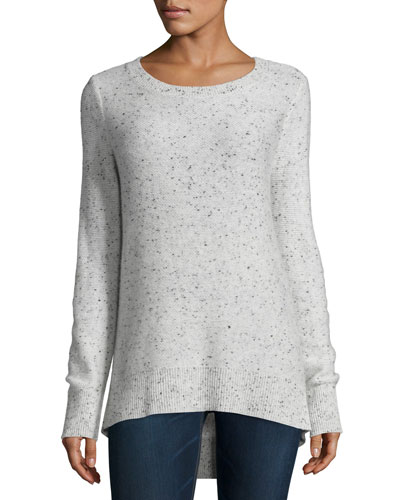 Tamara Melange Cashmere Sweater, Light Gray