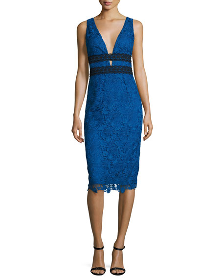 Viera Lace Sleeveless V-Neck Sheath Dress, Neptune Blue/Black