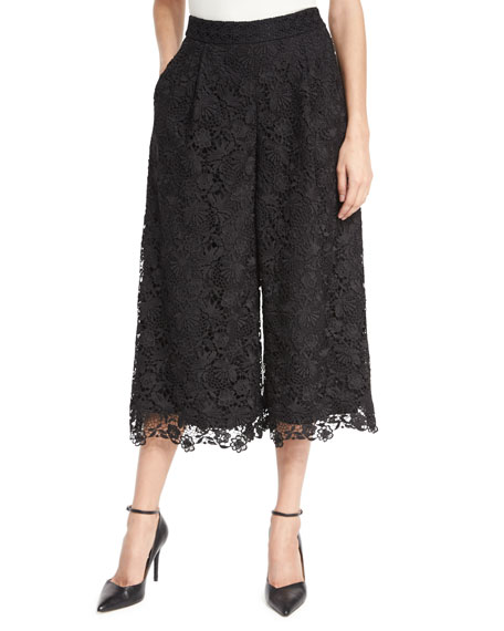 Diane von Furstenberg Holly Lace Culottes, Black