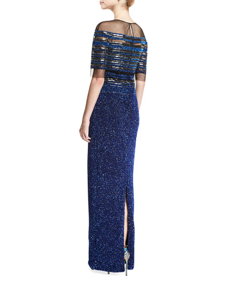 Half-Sleeve Ombre Illusion Gown, Electric