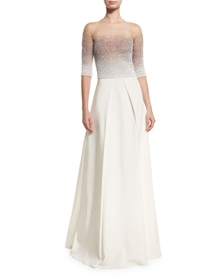 Pamella Roland Ombre Sequined Half-Sleeve Ball Gown, Iris/White