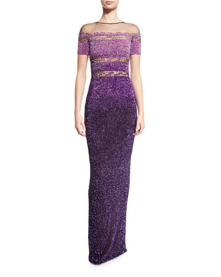 Pamella Roland Signature Sequined Short-Sleeve Gown, Purple