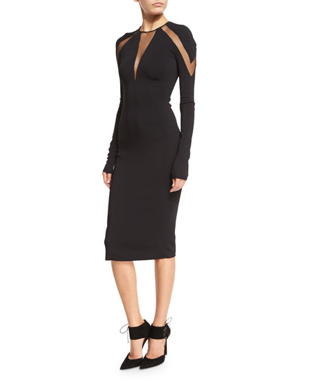 Pamella Roland Tulle-Inset Long-Sleeve Cocktail Dress, Black