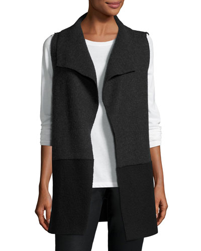 Boiled Wool Colorblock Vest, Charcoal/Black
