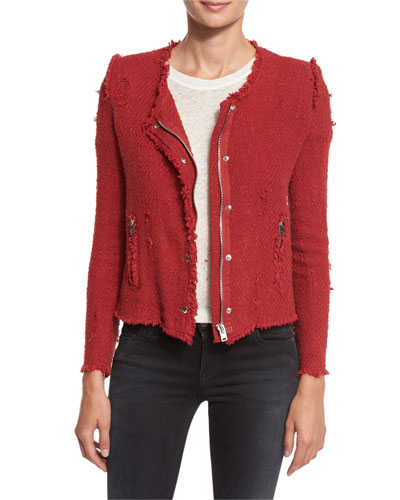 Agnette Cropped Boucle Jacket, Grenadine