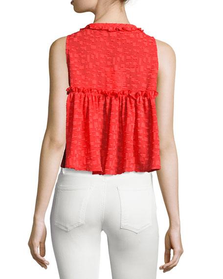 Ragnhild Sleeveless Textured Boxy Top, Red-Orange