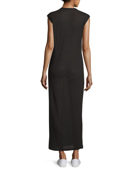 Daisy Laced Linen Maxi Dress, Black