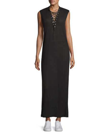 Iro Daisy Laced Linen Maxi Dress, Black