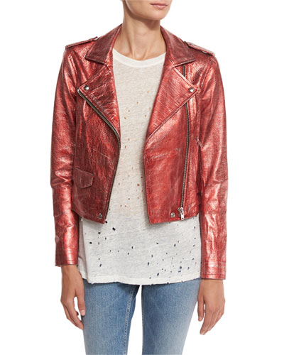 Axelle Cropped Metallic Leather Jacket, Red