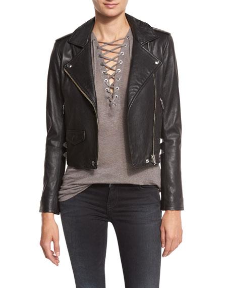 Iro Pixy Studded Leather Jacket, Black