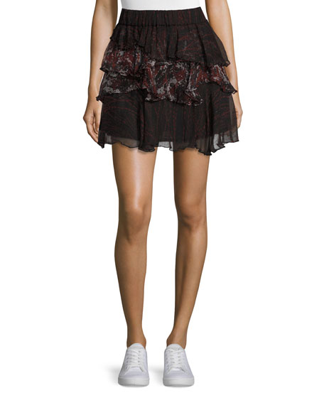 Iro Loey Tiered Printed Voile Skirt, Black/Red