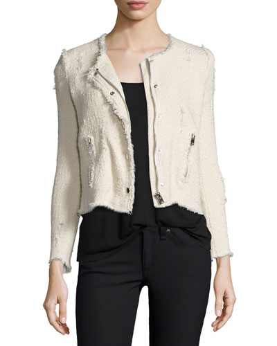 Agnette Cropped Boucle Jacket, Vanille