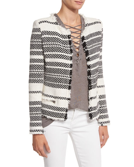 Iro Zlata Striped Textured Jacket, Ecru/Black