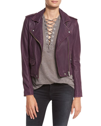 Ashville Cropped Leather Jacket, Plum