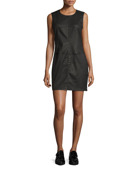 Current/Elliott The Shift Dress, Black Coated