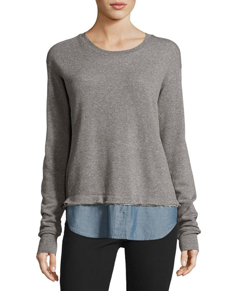 Current/Elliott The Detention Sweatshirt, Heather Gray/Chambray