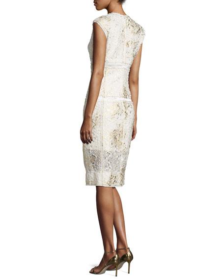 Sleeveless Mixed-Media Sheath Dress, Gesso