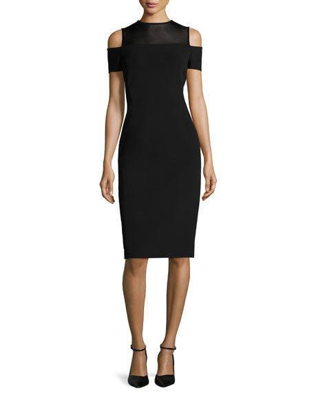 Lafayette 148 New York Cold-Shoulder Mesh-Yoke Sheath Dress,