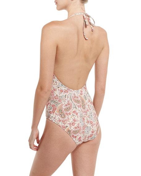 Promises Plunge-Neck One-Piece Swimsuit, Desert Peach