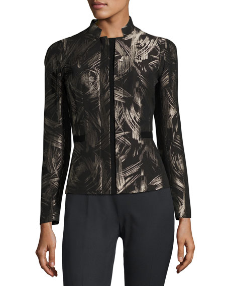 Lafayette 148 New York Belle Spark-Print Stretch-Wool Jacket,